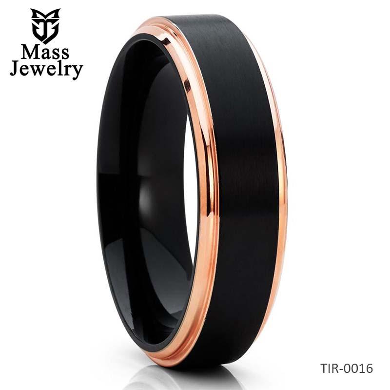 6mm - Titanium Wedding Band - Rose Gold - Black Titanium Ring - Matte Finish