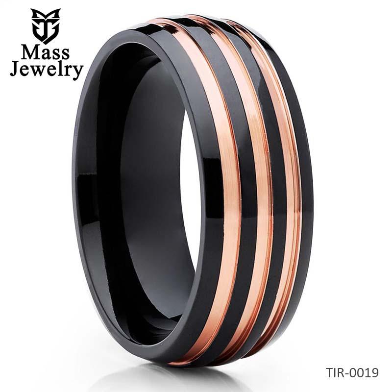 Rose Gold Titanium Ring Black Titanium Engagement Ring Wedding Band