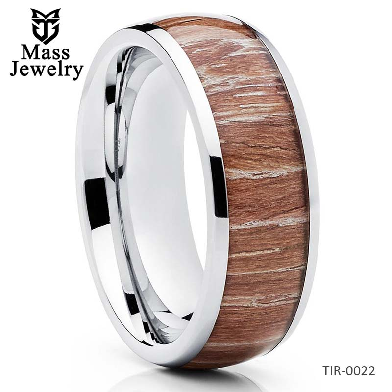 Titanium Wedding Band Wood Ring Ashen Wood Titanium Wedding Ring