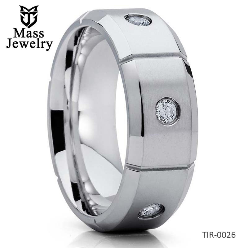 8mm Titanium Wedding Band Men's Ring Titanium Wedding Ring CZ