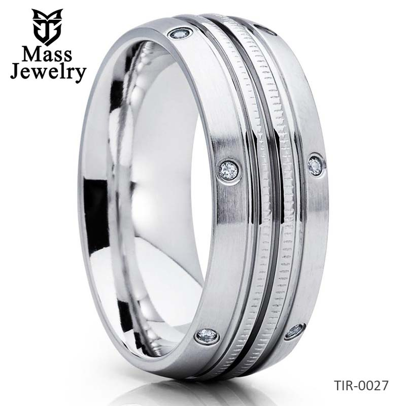 Men's Wedding Band Titanium Anniversary Ring Engagement Ring Brush