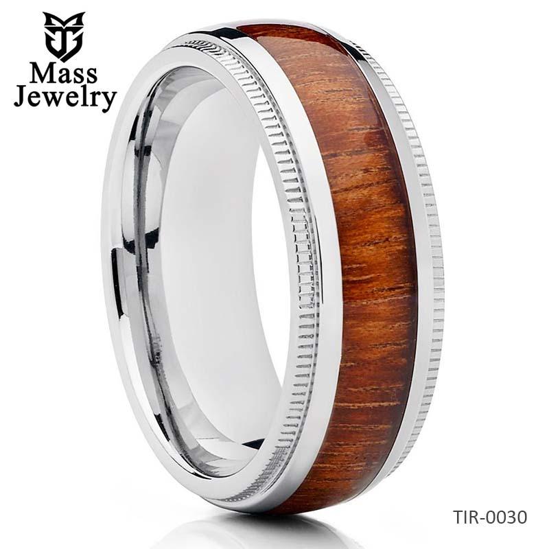Titanium Wedding Band Koa Wood Ring Wood Wedding Band Titanium