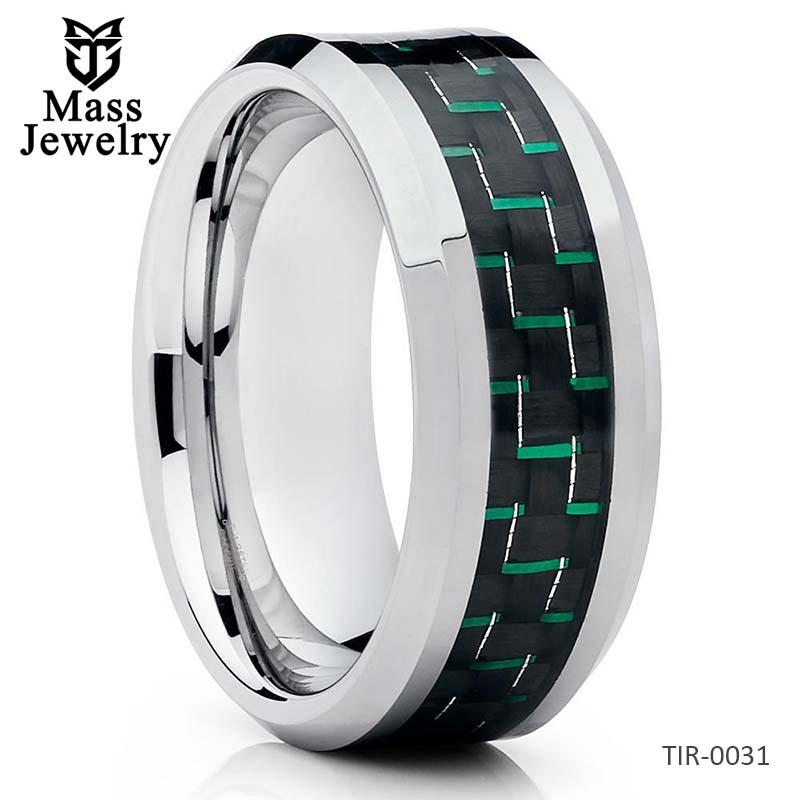 Titanium Wedding Band Carbon Fiber Ring Titanium Wedding Ring Green