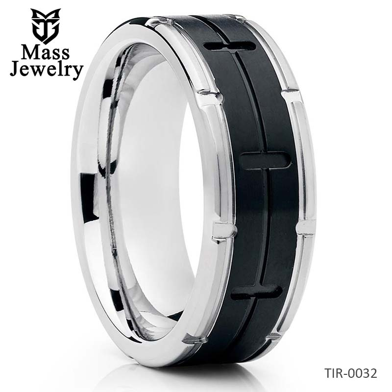 Black Titanium Ring Titanium Wedding Band Men's Wedding Band 8mm
