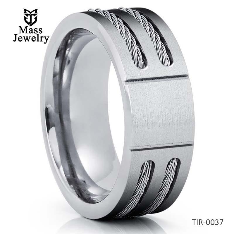Titanium Wedding Band Wire Titanium Ring 8mm Silver Titanium Ring
