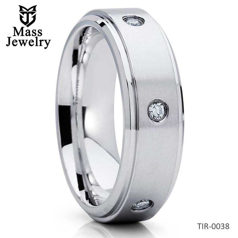 Titanium Wedding Band CZ Ring Titanium Wedding Ring White Titanium