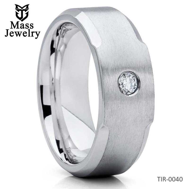 Men's Titanium Wedding Band CZ Ring Titanium Wedding Ring Matte 8mm