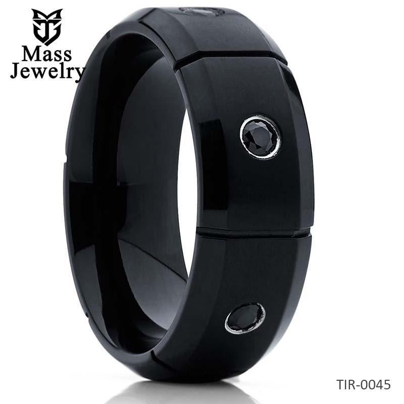 Black Titanium Ring Black CZ Ring Titanium Wedding Band Men's Ring