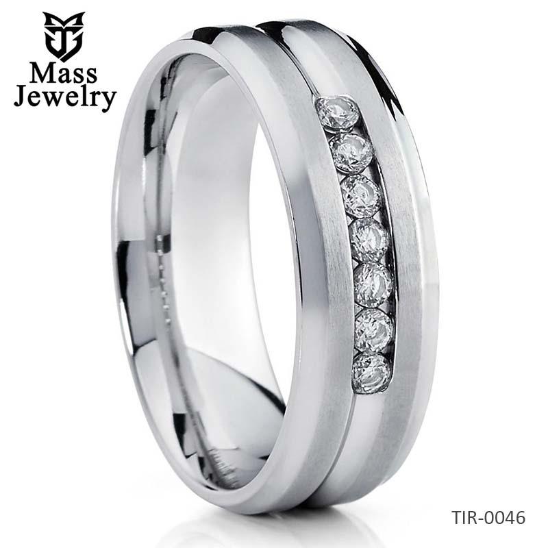 Titanium Wedding Band CZ Titanium Ring Titanium Wedding Ring