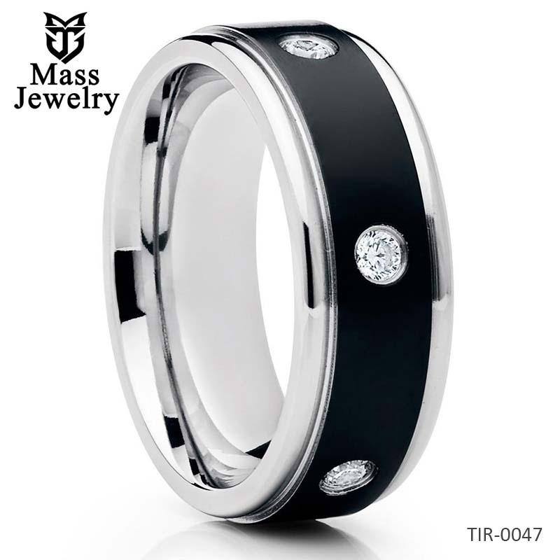 Men's Wedding Band Titanium Wedding Ring Black Titanium Ring 8mm