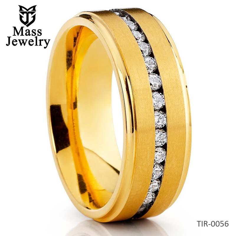 Titanium Wedding Band - Yellow Gold Titanium Ring - CZ Titanium Ring - 8mm