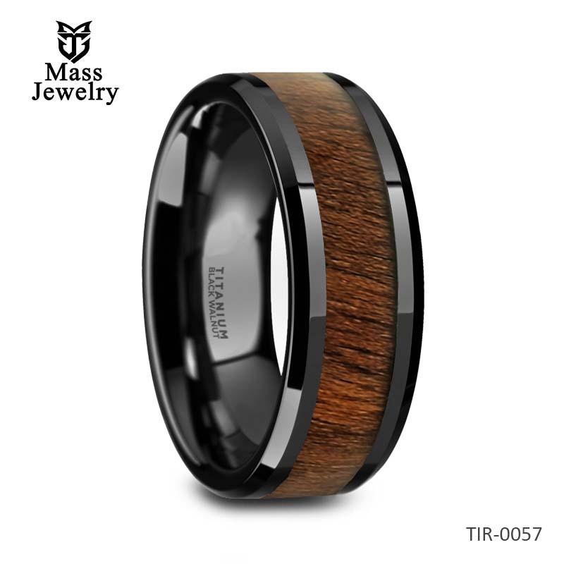 Black Titanium Polished Beveled Edges Black Walnut Wood Inlaid Mens Wedding Ring - 8mm