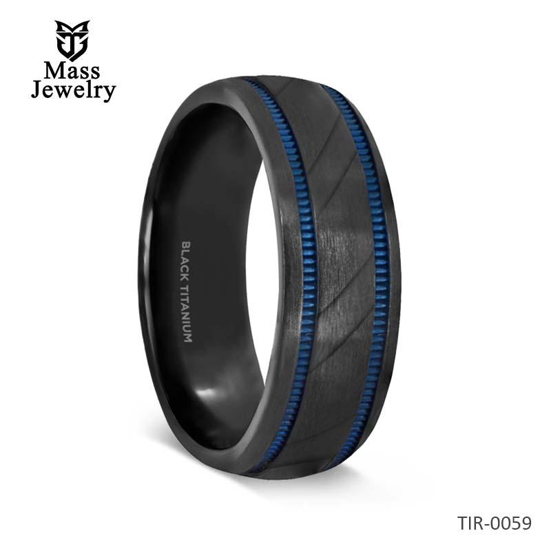Black Titanium Carved Diagonal Pattern Brushed Finish Men's Wedding Ring with Blue Milgrain Grooves